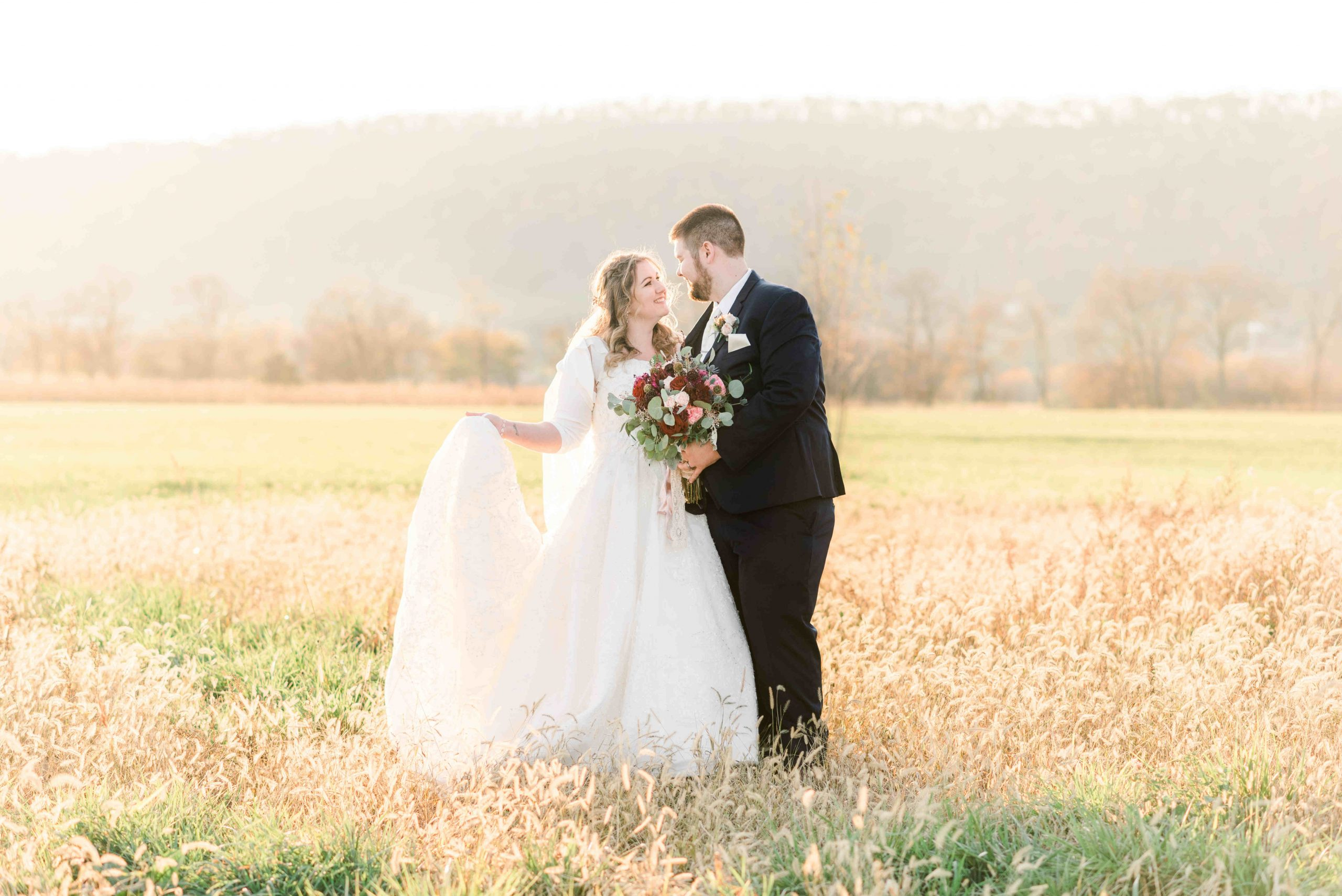 Happy Couple at Fox Meadow Barn, Winchester, VA